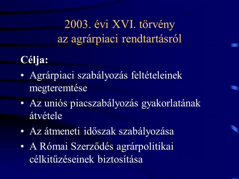 2003. évi XVI. törvény az agrárpiaci rendtartásról Célja: Agrárpiaci szabályozás feltételeinek megteremtése Az uniós piacszabályozás gyakorlatának átv