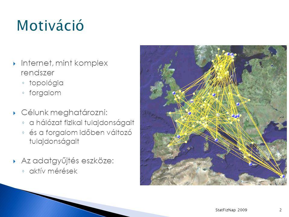  Internet, mint komplex rendszer ◦ topológia ◦ forgalom  Célunk meghatározni: ◦ a hálózat fizikai tulajdonságait ◦ és a forgalom időben változó tulajdonságait  Az adatgyűjtés eszköze: ◦ aktív mérések 2StatFizNap 2009