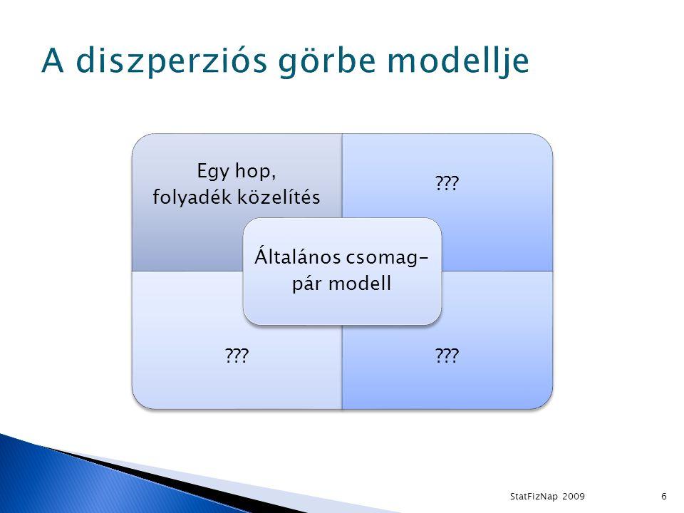 6 Egy hop, folyadék közelítés Általános csomag- pár modell StatFizNap 2009