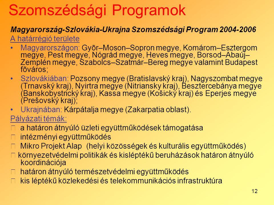 12 Szomszédsági Programok Magyarország-Szlovákia-Ukrajna Szomszédsági Program 2004-2006 A határrégió területe Magyarországon: Gyõr–Moson–Sopron megye,
