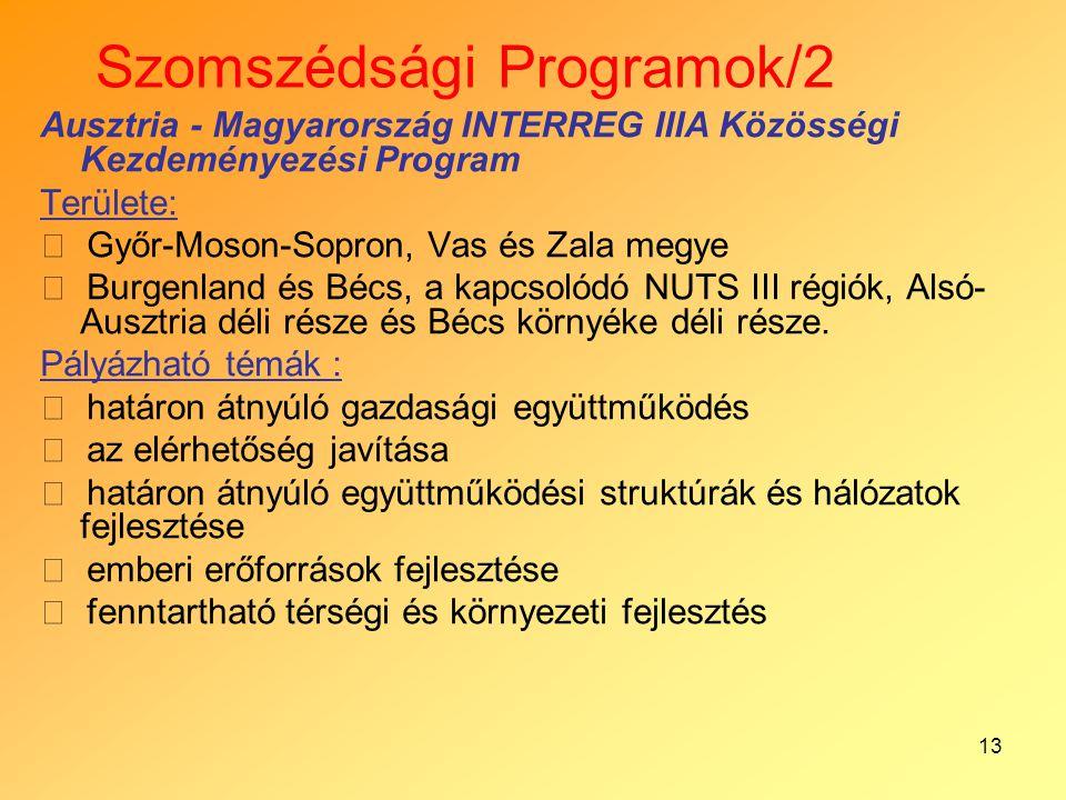 13 Szomszédsági Programok/2 Ausztria - Magyarország INTERREG IIIA Közösségi Kezdeményezési Program Területe:  Győr-Moson-Sopron, Vas és Zala megye 