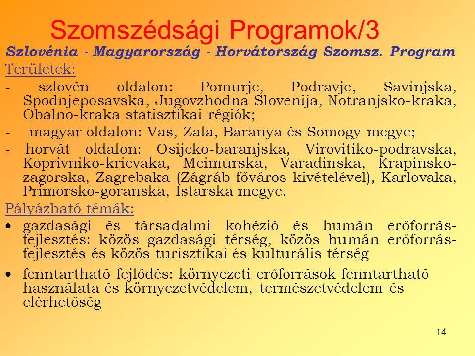 14 Szomszédsági Programok/3 Szlovénia - Magyarország - Horvátország Szomsz. Program Területek: - szlovén oldalon: Pomurje, Podravje, Savinjska, Spodnj