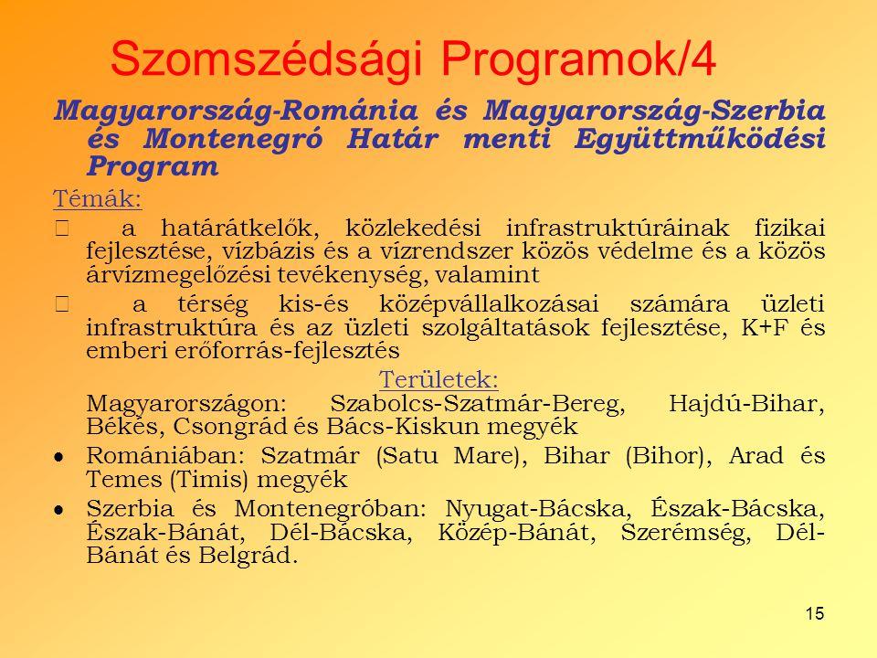 15 Szomszédsági Programok/4 Magyarország-Románia és Magyarország-Szerbia és Montenegró Határ menti Együttműködési Program Témák:  a határátkelők, köz