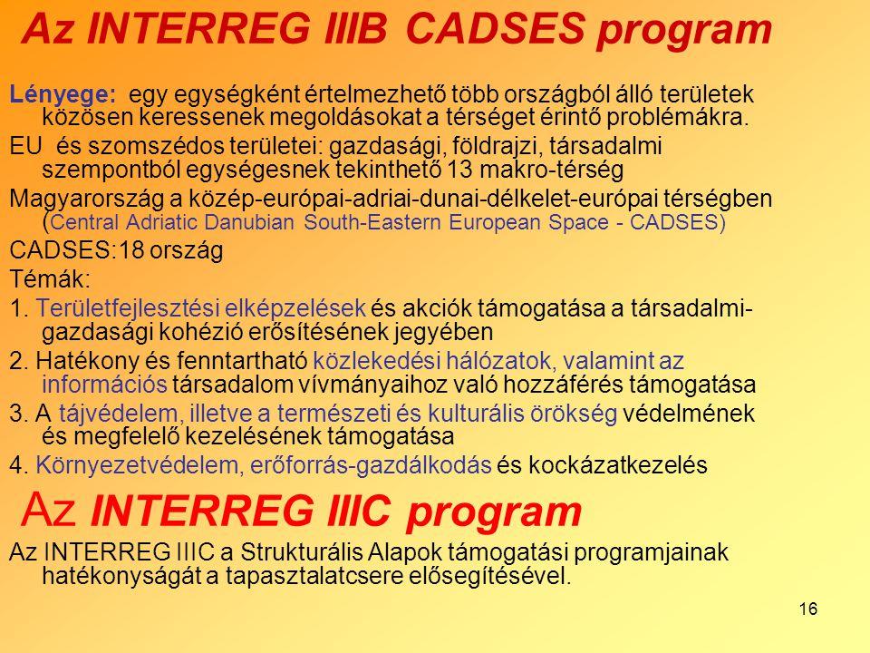 16 Az INTERREG IIIB CADSES program Lényege: egy egységként értelmezhető több országból álló területek közösen keressenek megoldásokat a térséget érint