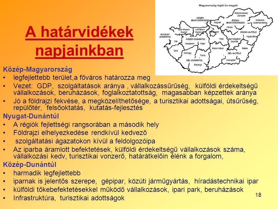 18 A határvidékek napjainkban Közép-Magyarország legfejlettebb terület,a főváros határozza meg Vezet: GDP, szolgáltatások aránya, vállalkozássűrűség,