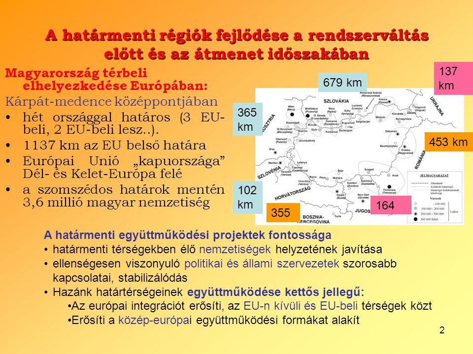 2 A határmenti régiók fejlődése a rendszerváltás előtt és az átmenet időszakában Magyarország térbeli elhelyezkedése Európában: Kárpát-medence középpo