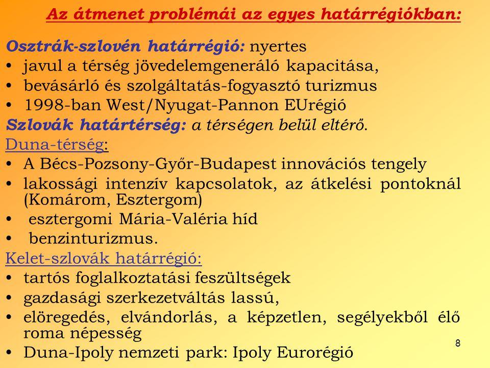 8 Az átmenet problémái az egyes határrégiókban: Osztrák-szlovén határrégió: nyertes javul a térség jövedelemgeneráló kapacitása, bevásárló és szolgált