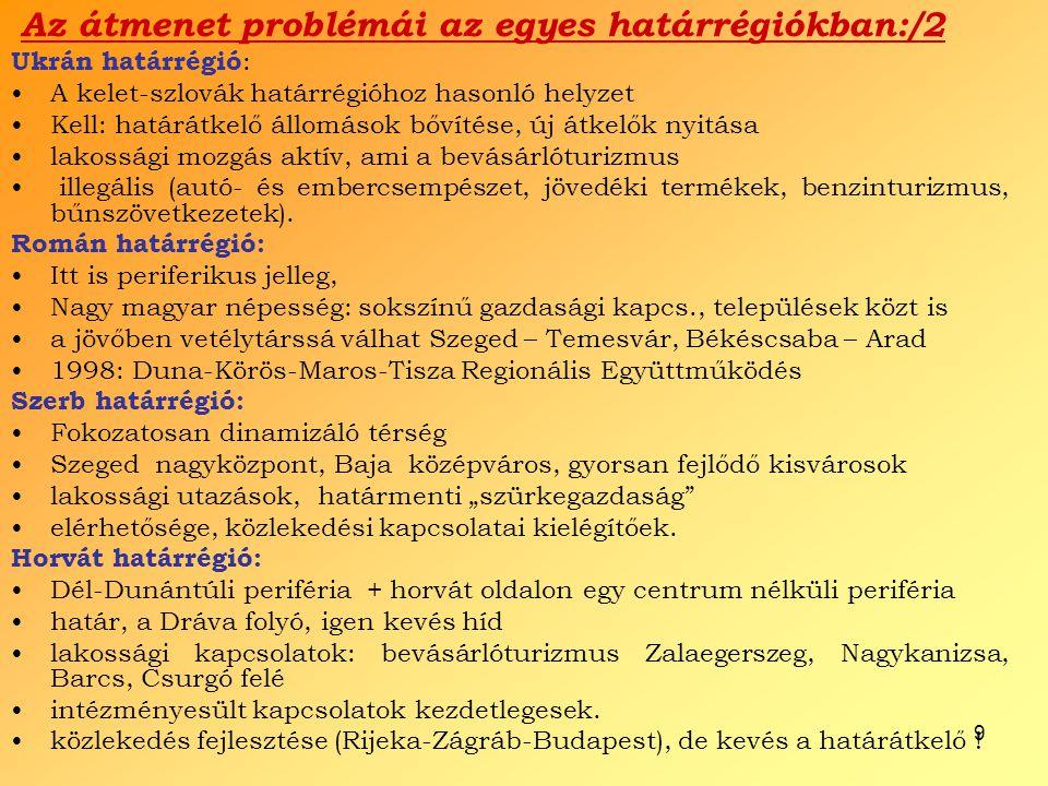9 Az átmenet problémái az egyes határrégiókban:/2 Ukrán határrégió : A kelet-szlovák határrégióhoz hasonló helyzet Kell: határátkelő állomások bővítés