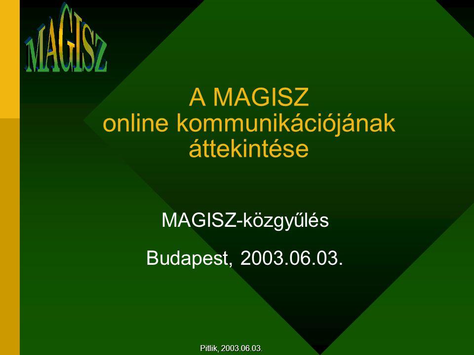 A MAGISZ online kommunikációjának áttekintése MAGISZ-közgyűlés Budapest, 2003.06.03.