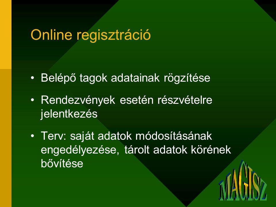 Online regisztráció Belépő tagok adatainak rögzítése Rendezvények esetén részvételre jelentkezés Terv: saját adatok módosításának engedélyezése, tárolt adatok körének bővítése
