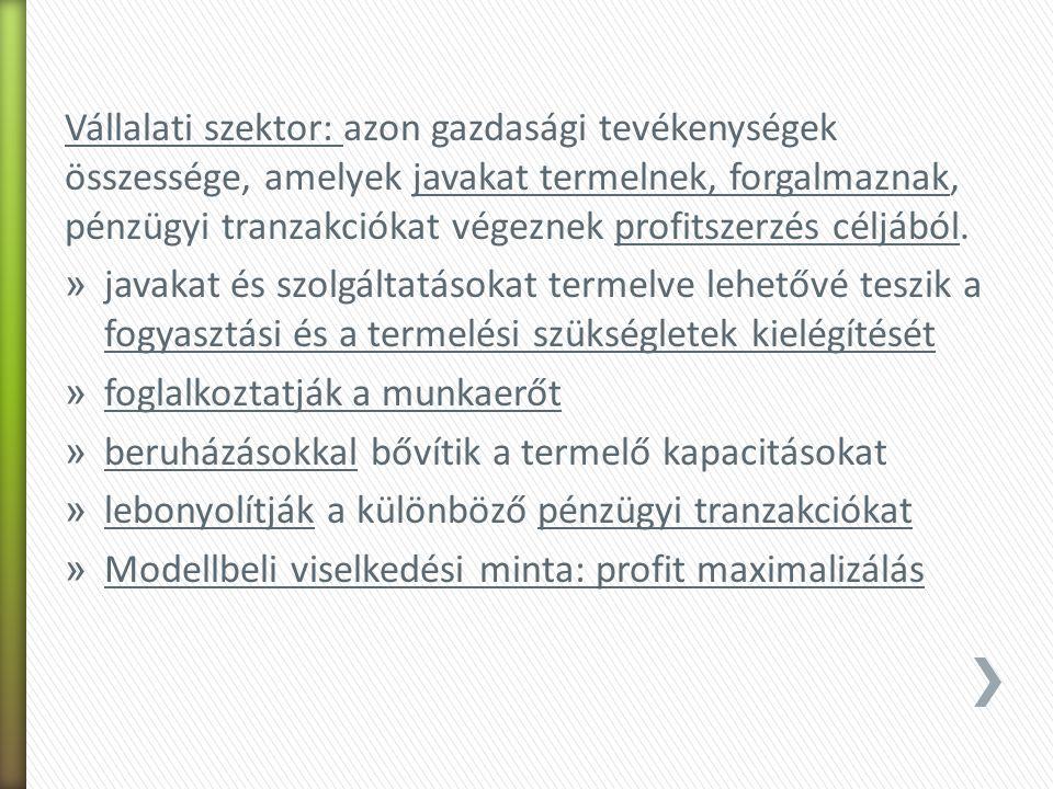 HáztartásVállalat Sh Sv Állam Th Tr G Tőkepiac I C W SÁ Külföld Sk X IM Tv Makrogazdaság piacai: -Termelési tényezők piaca -Munkapiac -Fogyasztási javak piaca -Tőkejavak piaca -Pénzpiac Hazai össztermék VállalatHáztartásÁllamKülföldTőkeszámla Hazai össztermék CGXI Y HáztartásWTr ÁllamTvTh KülföldIM TőkeszámlaSvShSáSk Bev Kiad W+Tv+Sv=Y C+Th+Sh=W+Tr G+Tr+SÁ=Tv+Th X+Sk=IM I=Sv+Sh+SÁ+Sk Y=C+I+G+X-IM – Makroökonómia alapegyenlete