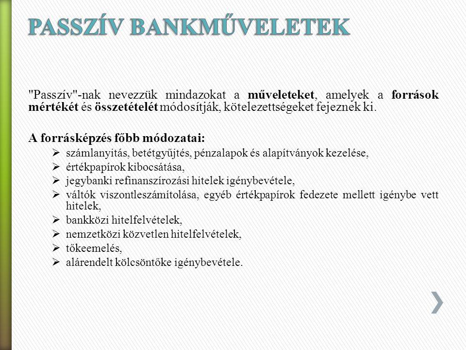 » Passzív bankműveletek – forrásgyűjtés (kamatkiadás) » Aktív bankműveletek – kihelyezések (kamatbevétel) » Semleges bankműveletek – banki/bankári szo