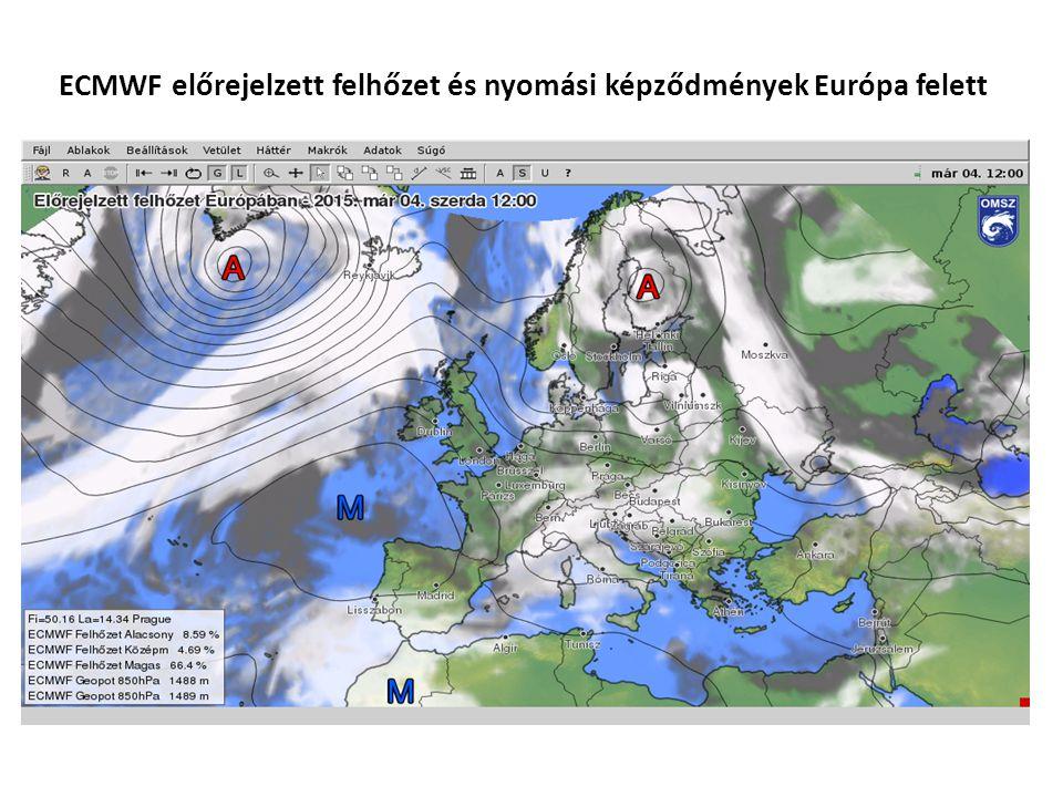 ECMWF előrejelzett felhőzet és nyomási képződmények Európa felett