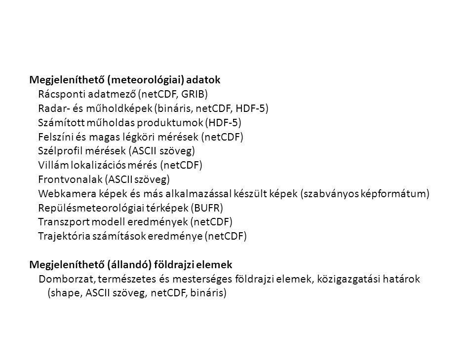 Megjeleníthető (meteorológiai) adatok Rácsponti adatmező (netCDF, GRIB) Radar- és műholdképek (bináris, netCDF, HDF-5) Számított műholdas produktumok