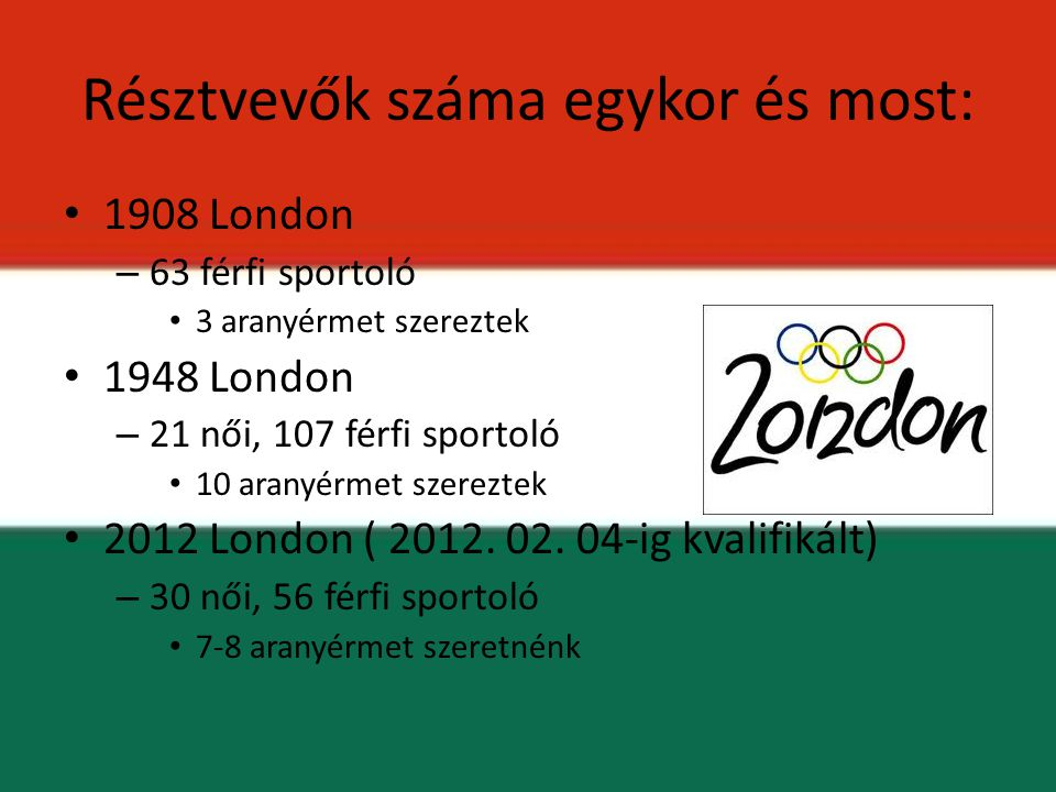 Résztvevők száma egykor és most: 1908 London – 63 férfi sportoló 3 aranyérmet szereztek 1948 London – 21 női, 107 férfi sportoló 10 aranyérmet szerezt