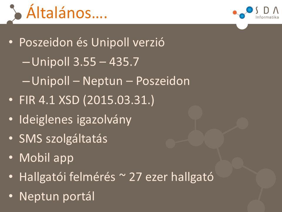 Általános…. Poszeidon és Unipoll verzió – Unipoll 3.55 – 435.7 – Unipoll – Neptun – Poszeidon FIR 4.1 XSD (2015.03.31.) Ideiglenes igazolvány SMS szol