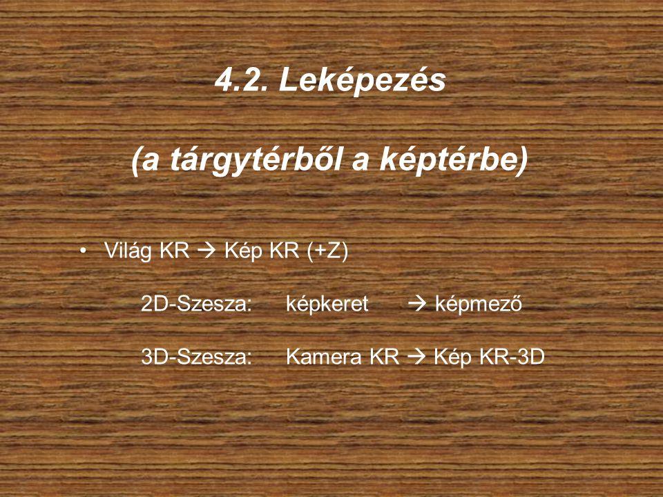 4.2. Leképezés (a tárgytérből a képtérbe) Világ KR  Kép KR (+Z) 2D-Szesza: képkeret  képmező 3D-Szesza: Kamera KR  Kép KR-3D