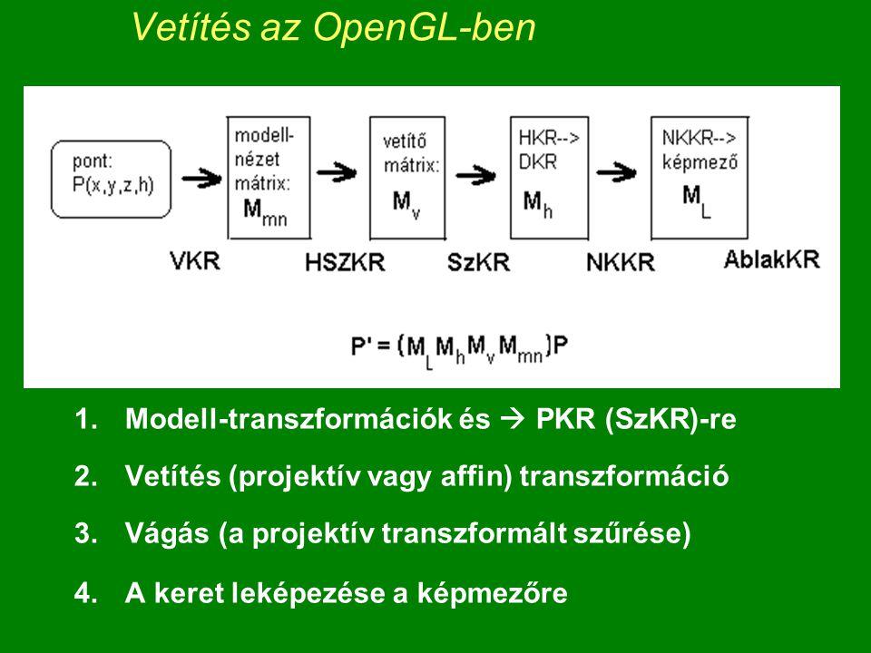 Vetítés az OpenGL-ben 1.Modell-transzformációk és  PKR (SzKR)-re 2.Vetítés (projektív vagy affin) transzformáció 3.Vágás (a projektív transzformált szűrése) 4.A keret leképezése a képmezőre