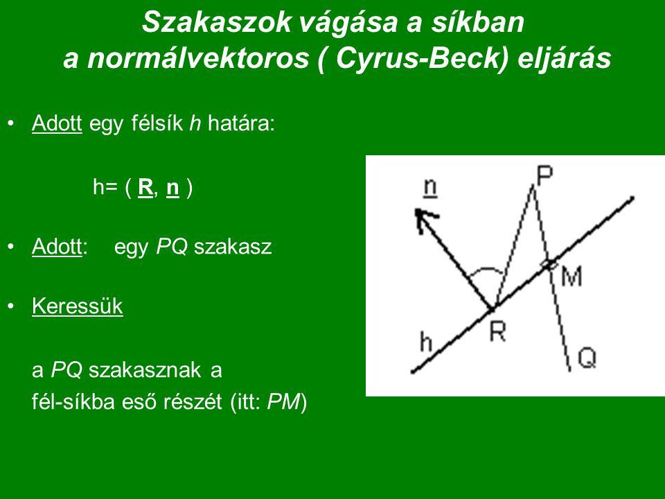Szakaszok vágása a síkban a normálvektoros ( Cyrus-Beck) eljárás Adott egy félsík h határa: h= ( R, n ) Adott: egy PQ szakasz Keressük a PQ szakasznak a fél-síkba eső részét (itt: PM)
