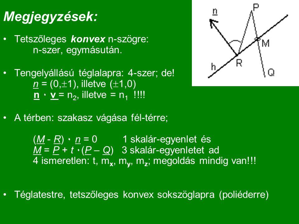 Megjegyzések: Tetszőleges konvex n-szögre: n-szer, egymásután.