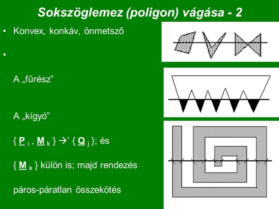 """47 Sokszöglemez (poligon) vágása - 2 Konvex, konkáv, önmetsző A """"fűrész A """"kígyó { P i, M k }  ' { Q j }; és { M k } külön is; majd rendezés páros-páratlan összekötés"""