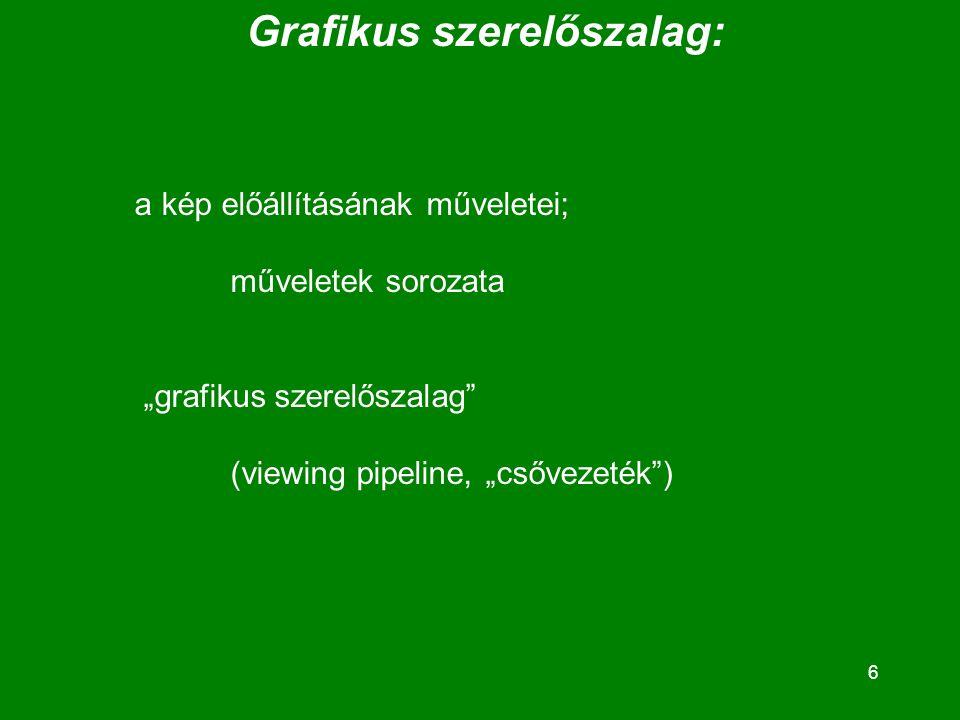 """6 Grafikus szerelőszalag: a kép előállításának műveletei; műveletek sorozata """"grafikus szerelőszalag (viewing pipeline, """"csővezeték )"""