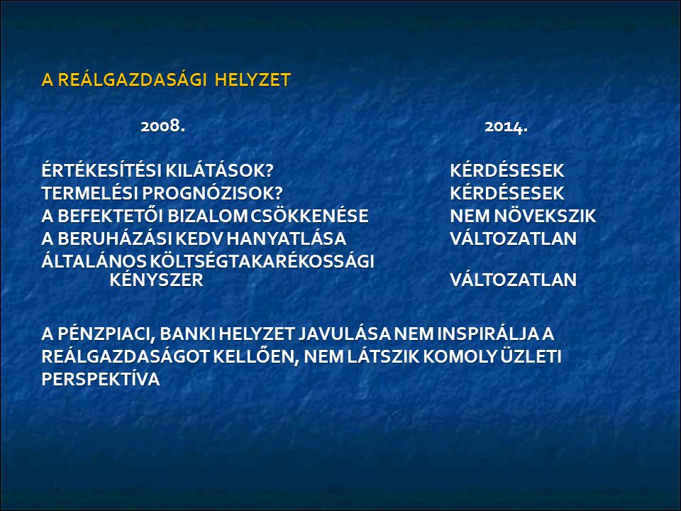 A REÁLGAZDASÁGI HELYZET 2008. 2014. 2008. 2014.