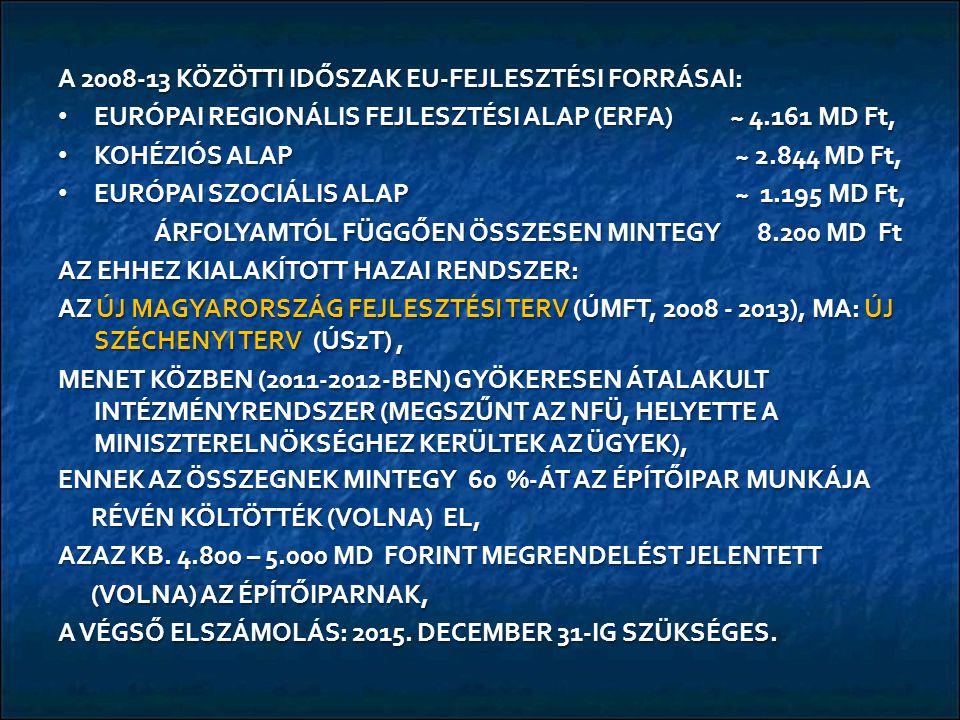 A 2008-13 KÖZÖTTI IDŐSZAK EU-FEJLESZTÉSI FORRÁSAI: EURÓPAI REGIONÁLIS FEJLESZTÉSI ALAP (ERFA)~ 4.161 MD Ft, EURÓPAI REGIONÁLIS FEJLESZTÉSI ALAP (ERFA)~ 4.161 MD Ft, KOHÉZIÓS ALAP ~ 2.844 MD Ft, KOHÉZIÓS ALAP ~ 2.844 MD Ft, EURÓPAI SZOCIÁLIS ALAP ~ 1.195 MD Ft, EURÓPAI SZOCIÁLIS ALAP ~ 1.195 MD Ft, ÁRFOLYAMTÓL FÜGGŐEN ÖSSZESEN MINTEGY 8.200 MD Ft AZ EHHEZ KIALAKÍTOTT HAZAI RENDSZER: AZ ÚJ MAGYARORSZÁG FEJLESZTÉSI TERV (ÚMFT, 2008 - 2013), MA: ÚJ SZÉCHENYI TERV (ÚSzT), MENET KÖZBEN (2011-2012-BEN) GYÖKERESEN ÁTALAKULT INTÉZMÉNYRENDSZER (MEGSZŰNT AZ NFÜ, HELYETTE A MINISZTERELNÖKSÉGHEZ KERÜLTEK AZ ÜGYEK), ENNEK AZ ÖSSZEGNEK MINTEGY 60 %-ÁT AZ ÉPÍTŐIPAR MUNKÁJA RÉVÉN KÖLTÖTTÉK (VOLNA) EL, RÉVÉN KÖLTÖTTÉK (VOLNA) EL, AZAZ KB.