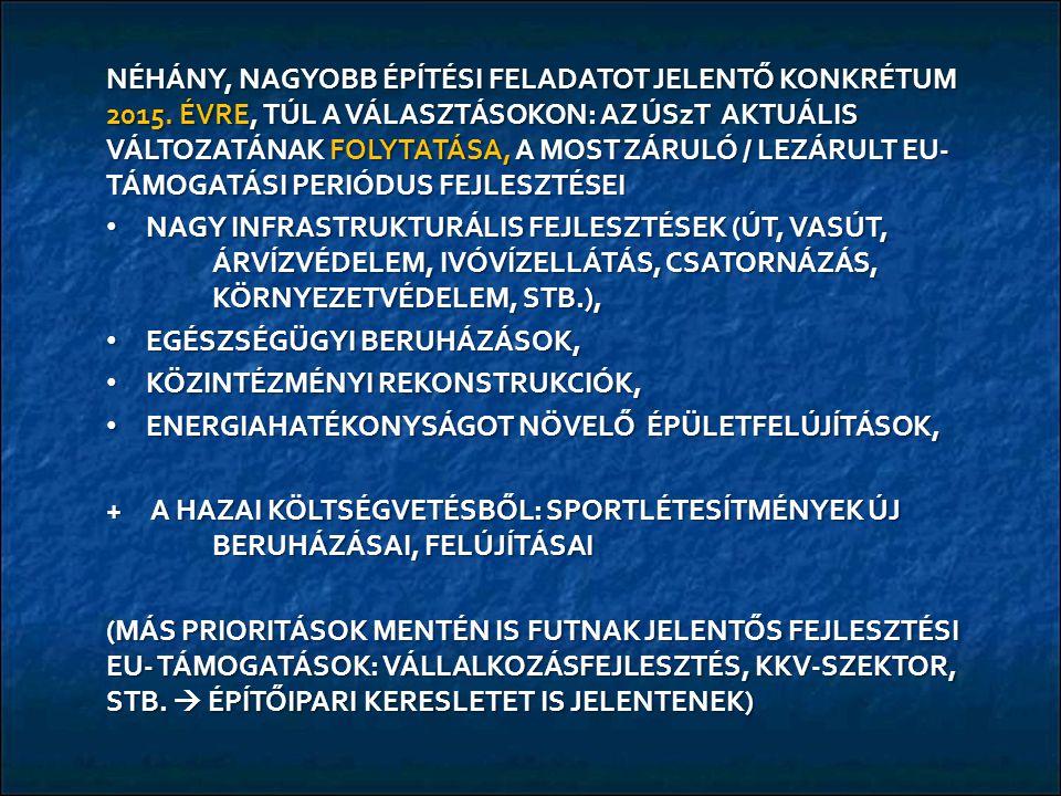 NÉHÁNY, NAGYOBB ÉPÍTÉSI FELADATOT JELENTŐ KONKRÉTUM 2015.