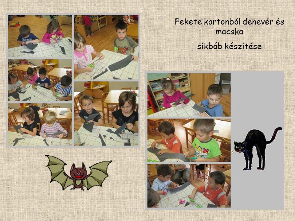 Fekete kartonból denevér és macska síkbáb készítése