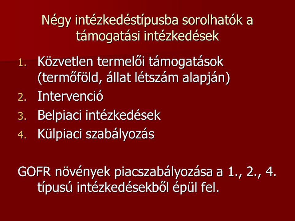 Négy intézkedéstípusba sorolhatók a támogatási intézkedések 1.