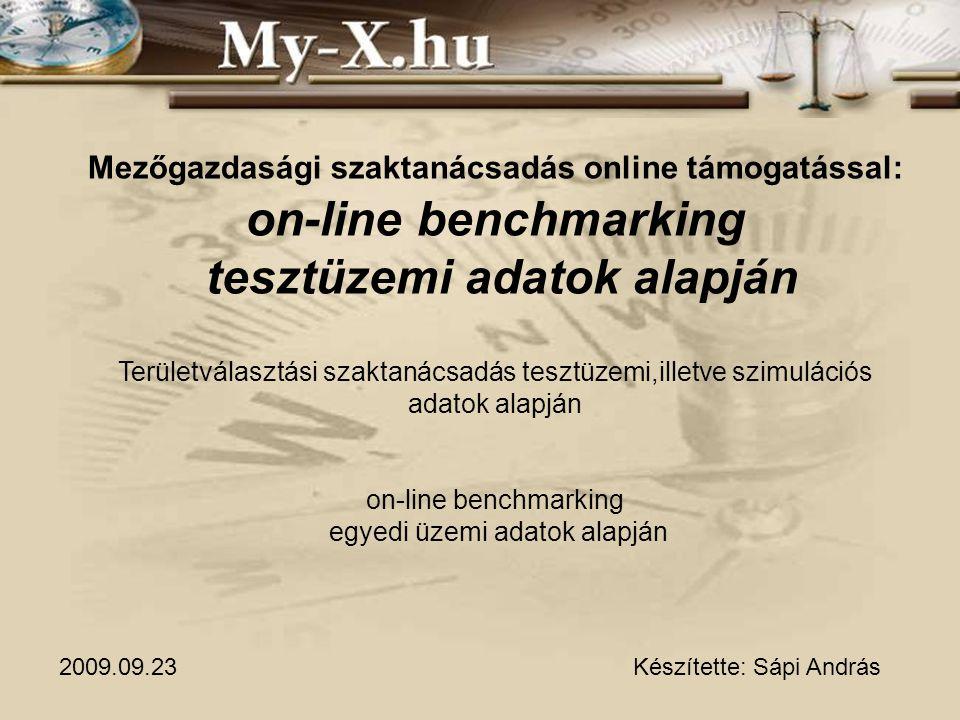 Mezőgazdasági szaktanácsadás online támogatással: on-line benchmarking tesztüzemi adatok alapján Területválasztási szaktanácsadás tesztüzemi,illetve s
