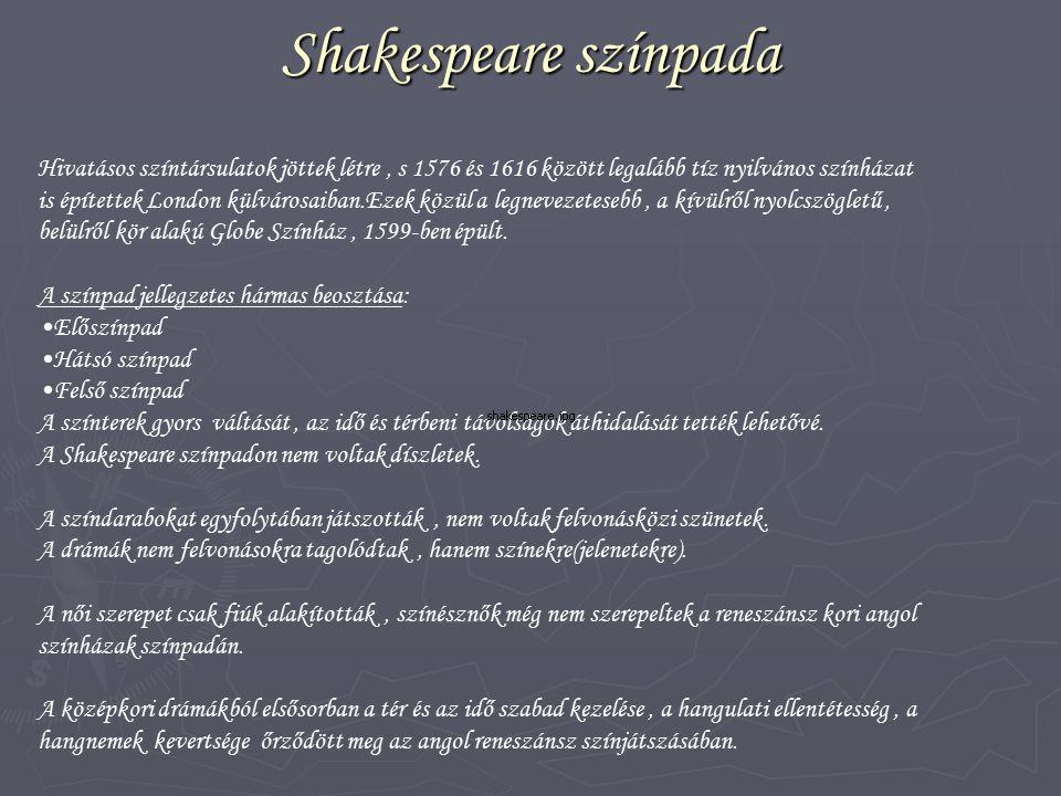 Shakespeare színpada Hivatásos színtársulatok jöttek létre, s 1576 és 1616 között legalább tíz nyilvános színházat is építettek London külvárosaiban.E