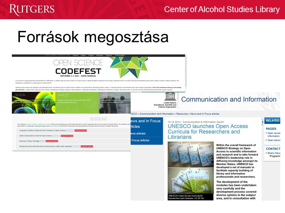 Center of Alcohol Studies Library Források megosztása