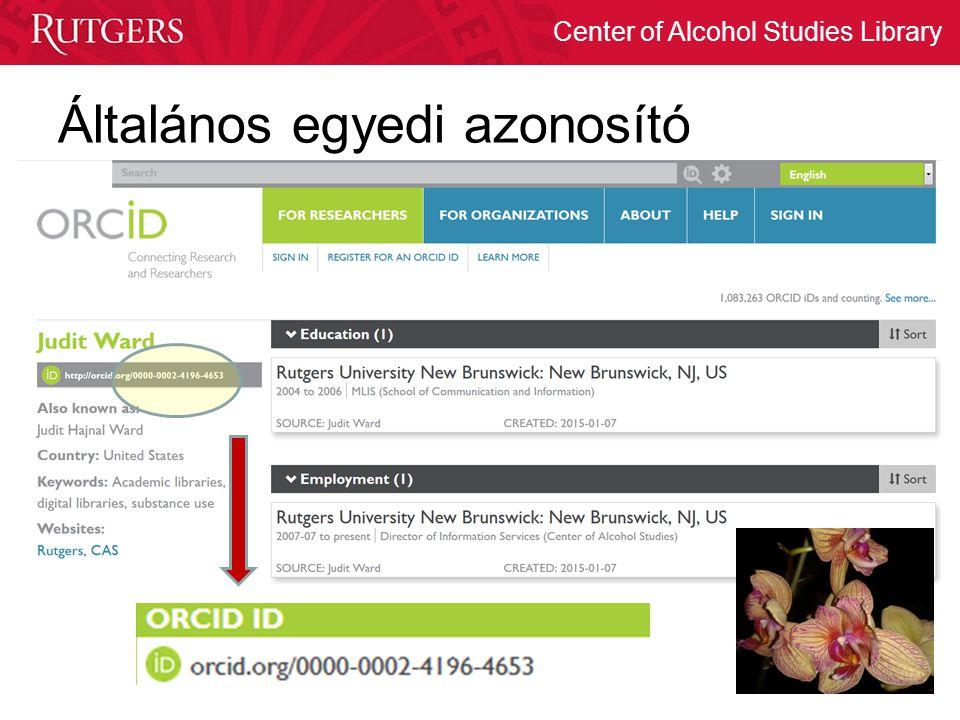 Center of Alcohol Studies Library Általános egyedi azonosító