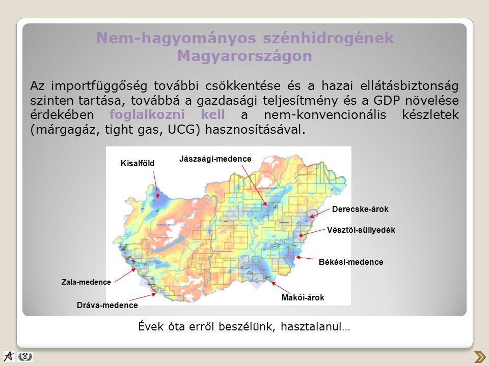 Nem-hagyományos szénhidrogének Magyarországon Az importfüggőség további csökkentése és a hazai ellátásbiztonság szinten tartása, továbbá a gazdasági teljesítmény és a GDP növelése érdekében foglalkozni kell a nem-konvencionális készletek (márgagáz, tight gas, UCG) hasznosításával.