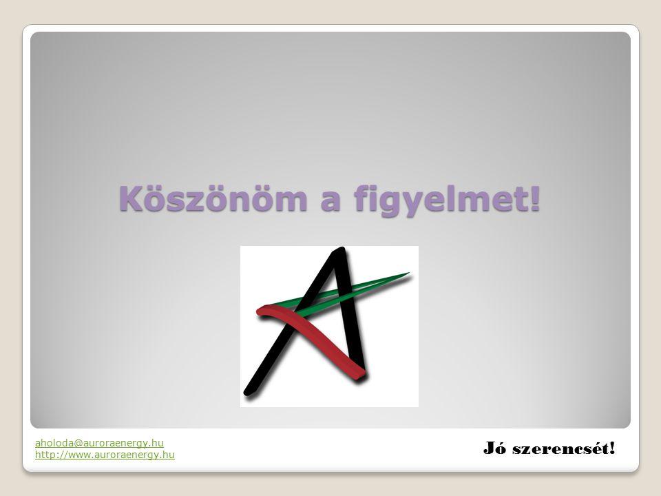 Köszönöm a figyelmet! Jó szerencsét! aholoda@auroraenergy.hu http://www.auroraenergy.hu