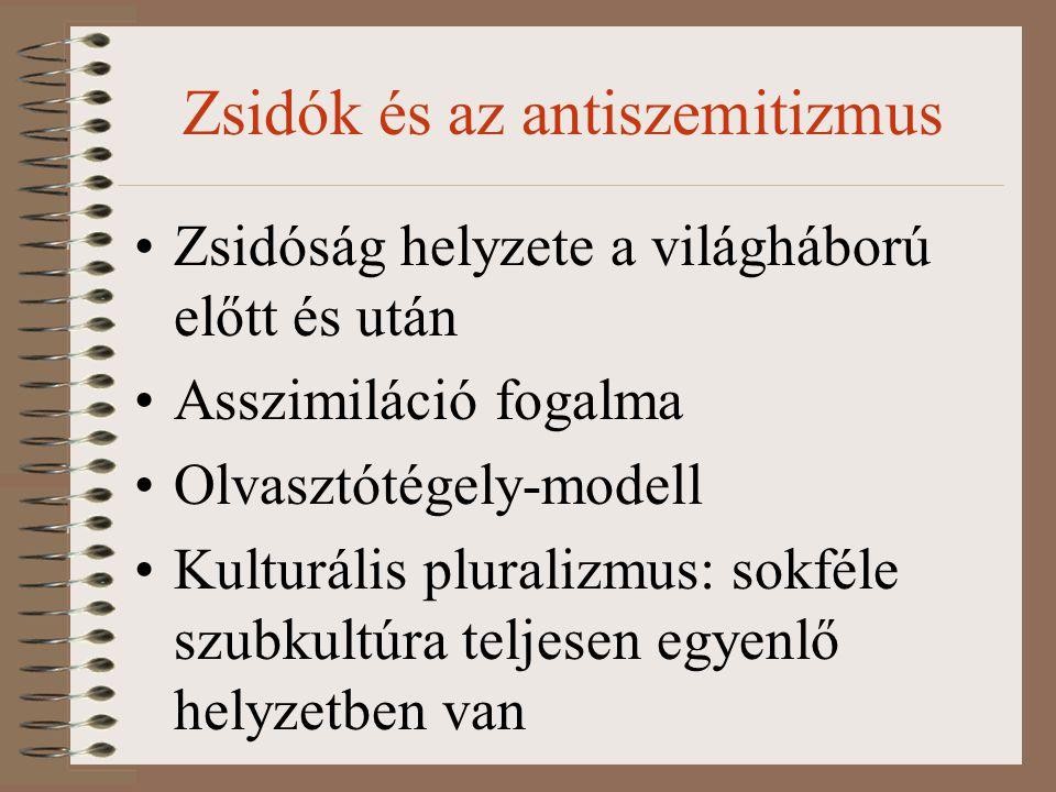 Zsidók és az antiszemitizmus Zsidóság helyzete a világháború előtt és után Asszimiláció fogalma Olvasztótégely-modell Kulturális pluralizmus: sokféle