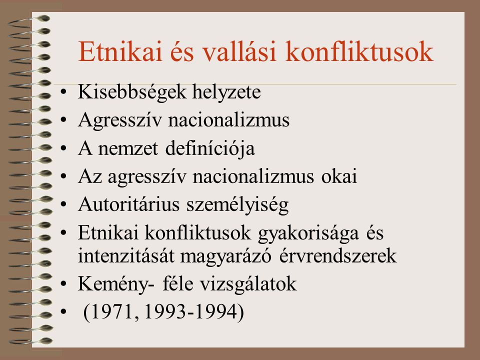 Etnikai és vallási konfliktusok Kisebbségek helyzete Agresszív nacionalizmus A nemzet definíciója Az agresszív nacionalizmus okai Autoritárius személy