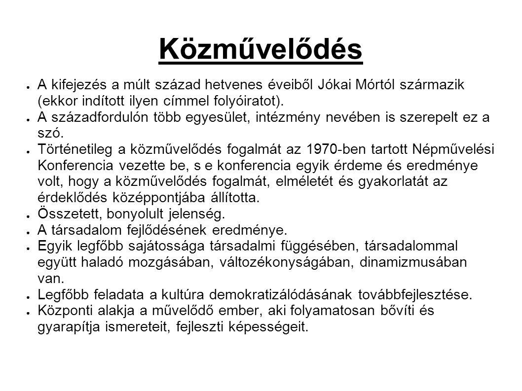 Közművelődés ● A kifejezés a múlt század hetvenes éveiből Jókai Mórtól származik (ekkor indított ilyen címmel folyóiratot).