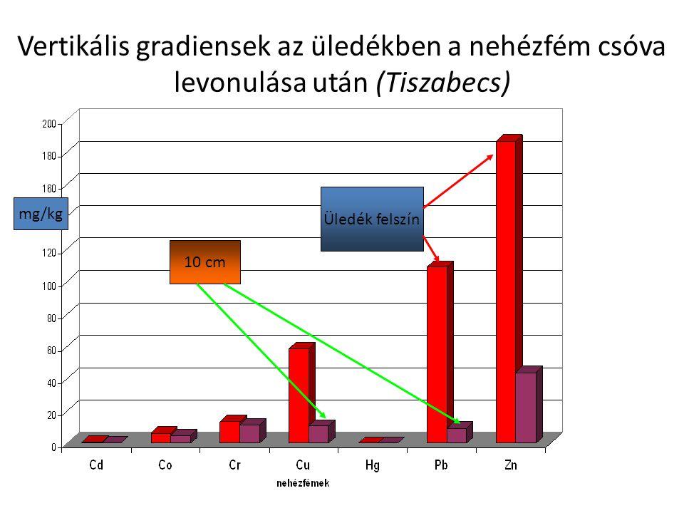 A nehézfémes bányazagy hatása – ólom koncentrációk az üledékben közvetlenül a szennyezés utáni napokban mg/kg Primer kiülepedési zónák