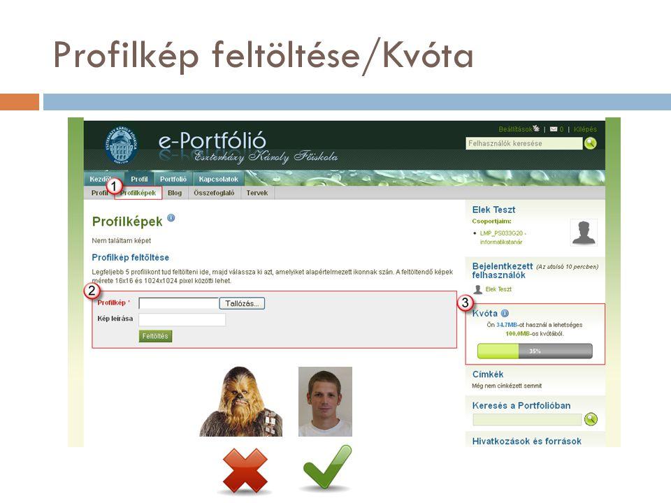 Profilkép feltöltése/Kvóta