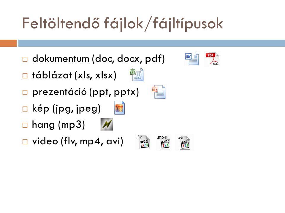 Feltöltendő fájlok/fájltípusok  dokumentum (doc, docx, pdf)  táblázat (xls, xlsx)  prezentáció (ppt, pptx)  kép (jpg, jpeg)  hang (mp3)  video (