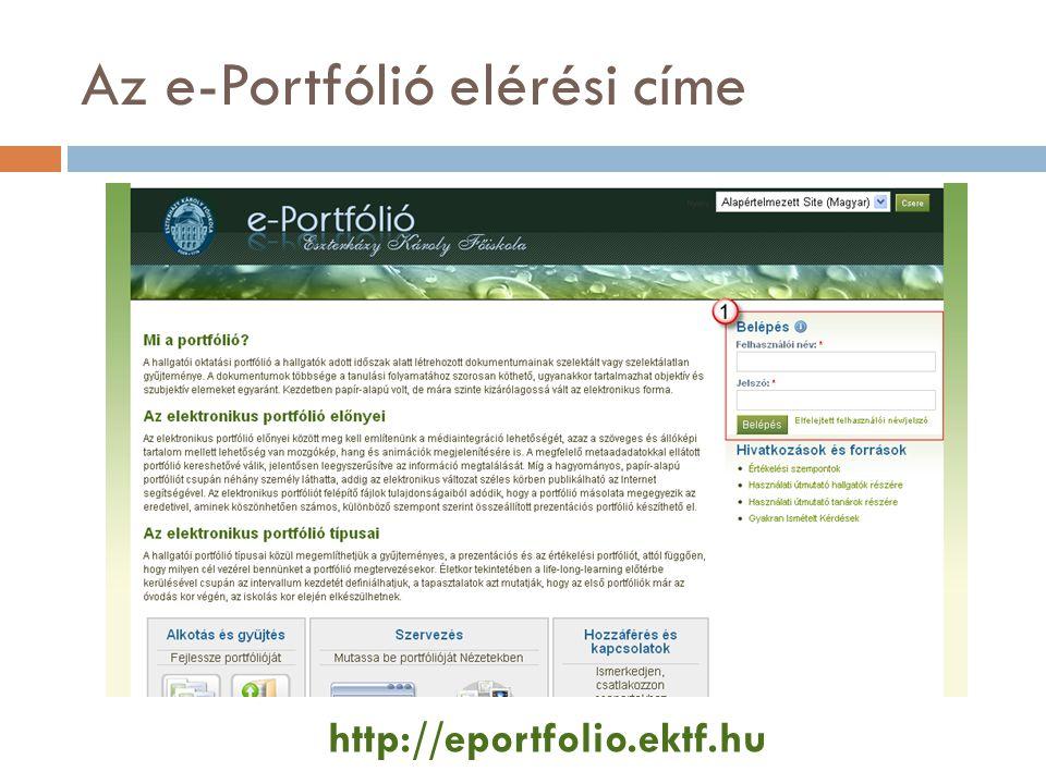 Az e-Portfólió elérési címe http://eportfolio.ektf.hu