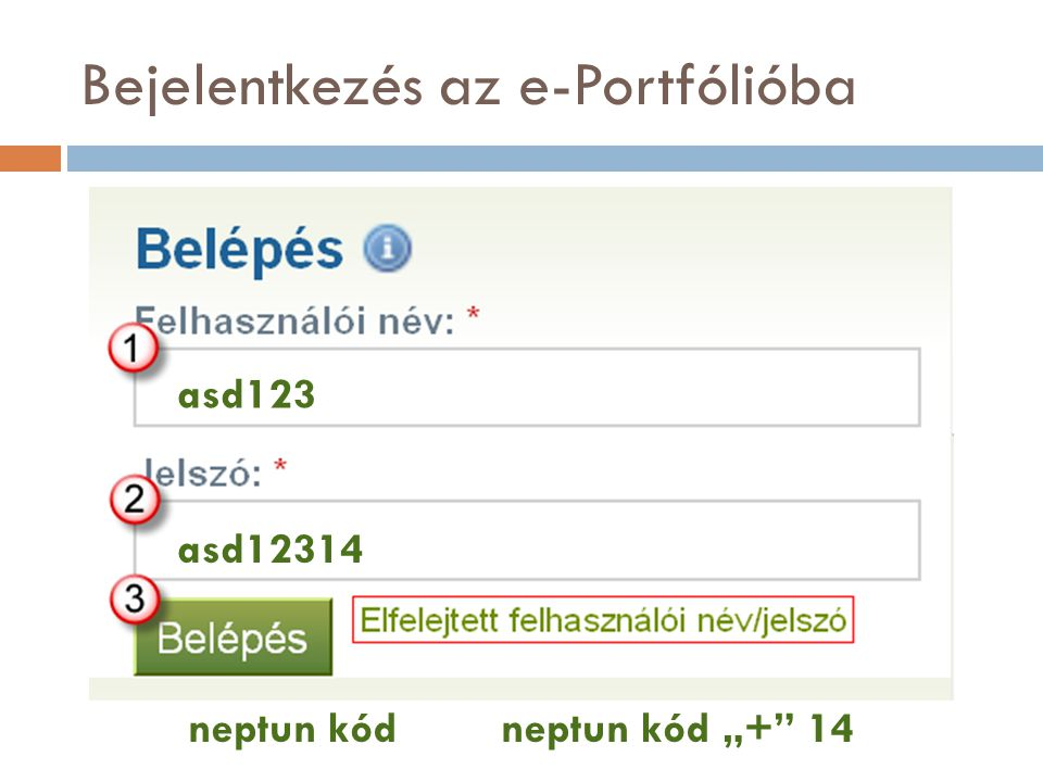 """Bejelentkezés az e-Portfólióba neptun kódneptun kód """"+"""" 14 asd123 asd12314"""