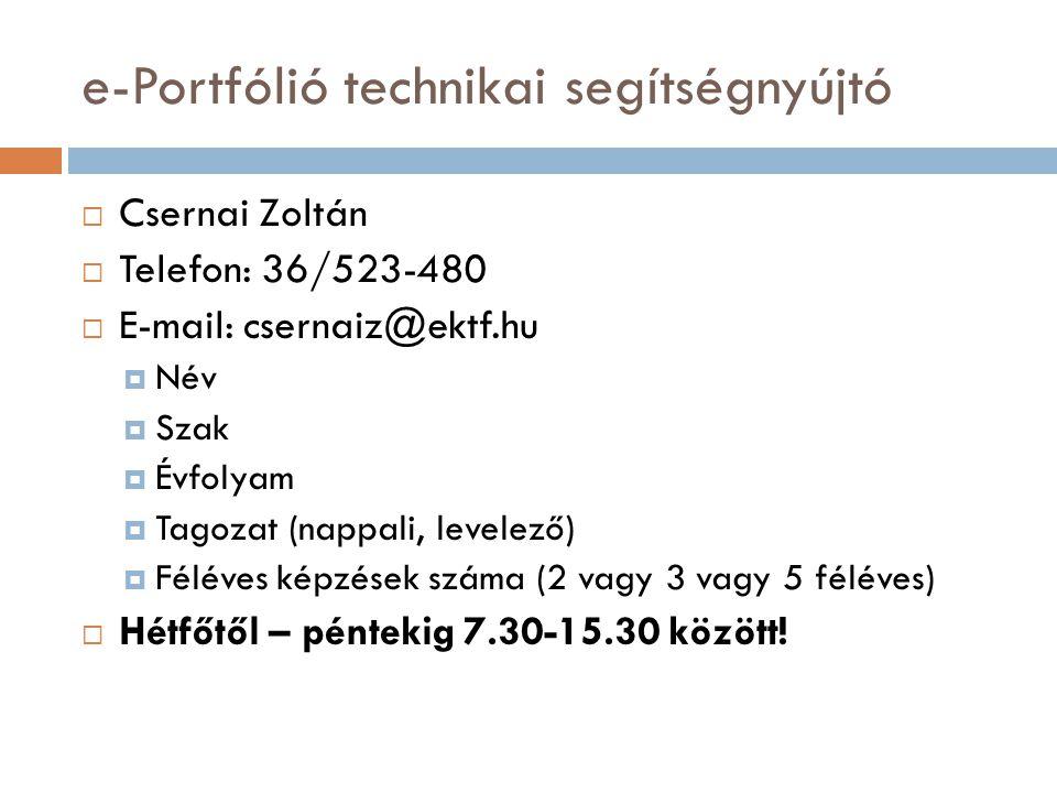 e-Portfólió technikai segítségnyújtó  Csernai Zoltán  Telefon: 36/523-480  E-mail: csernaiz@ektf.hu  Név  Szak  Évfolyam  Tagozat (nappali, lev