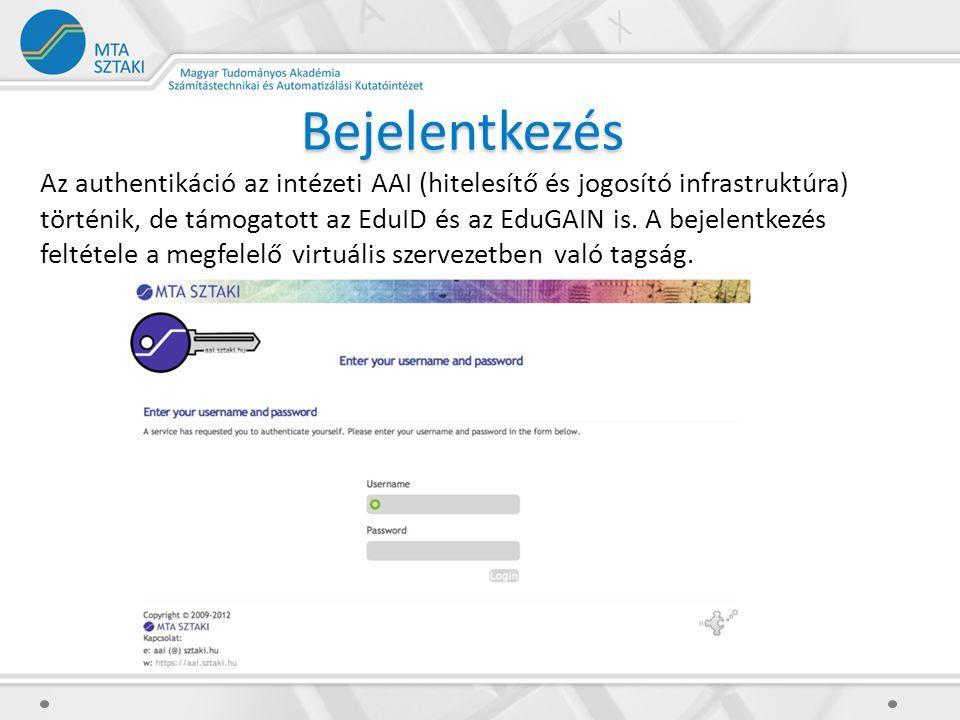 Bejelentkezés Az authentikáció az intézeti AAI (hitelesítő és jogosító infrastruktúra) történik, de támogatott az EduID és az EduGAIN is.