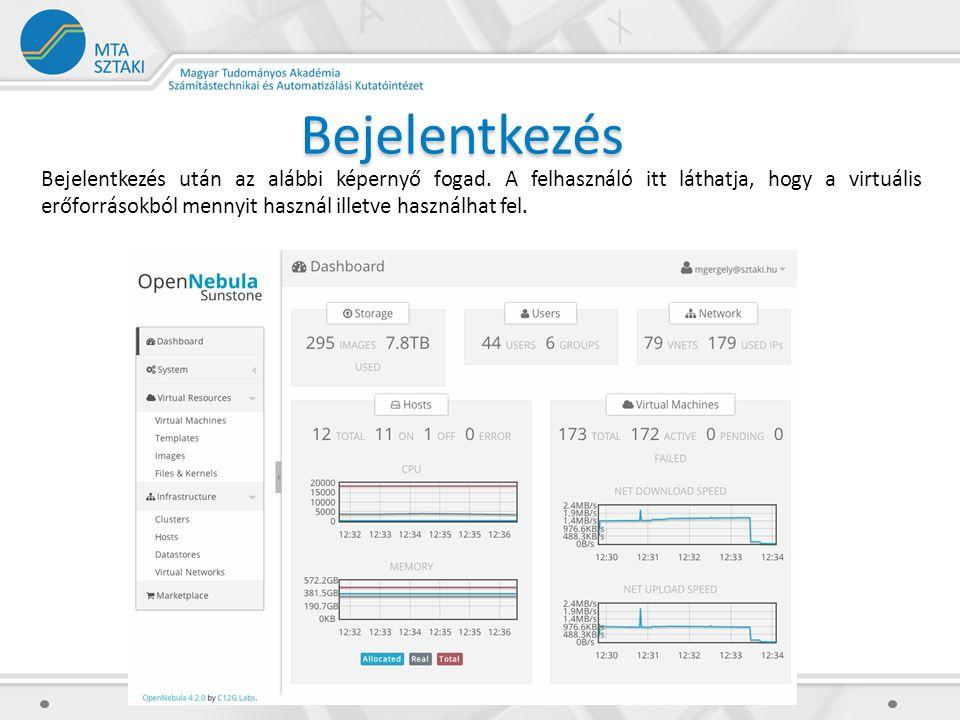 Bejelentkezés Bejelentkezés után az alábbi képernyő fogad. A felhasználó itt láthatja, hogy a virtuális erőforrásokból mennyit használ illetve használ