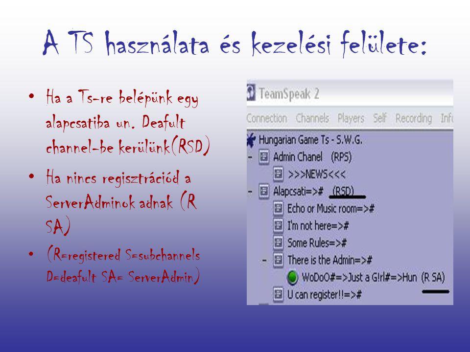 A TS használata és kezelési felülete: Ha a Ts-re belépünk egy alapcsatiba un.