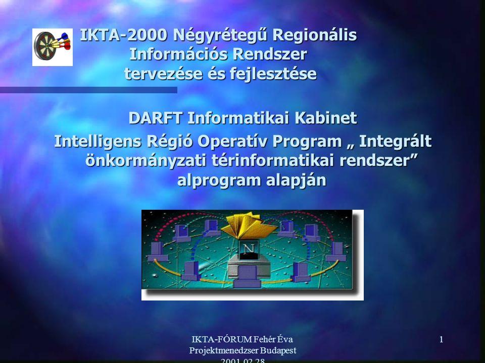 """IKTA-FÓRUM Fehér Éva Projektmenedzser Budapest 2001.02.28 1 IKTA-2000 Négyrétegű Regionális Információs Rendszer tervezése és fejlesztése DARFT Informatikai Kabinet Intelligens Régió Operatív Program """" Integrált önkormányzati térinformatikai rendszer alprogram alapján"""